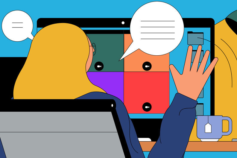Illustration of a woman attending college from home, waving at a computer monitor with a video chat on it.