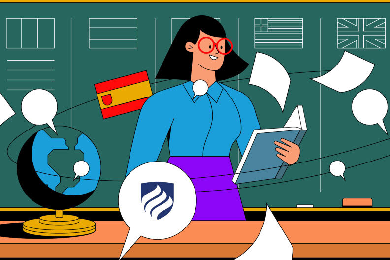 Illustration showing a teacher trying to earn an ESL endorsement in Illinois. This endorsement is necessary to teach English as a Second Language courses.