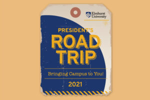 """Illustration of a luggage tag that reads """"President's Road Trip 2021."""""""