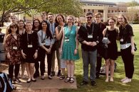 Elmhurst University students and professors pose in a group photo at the 2019 NCUR conference.