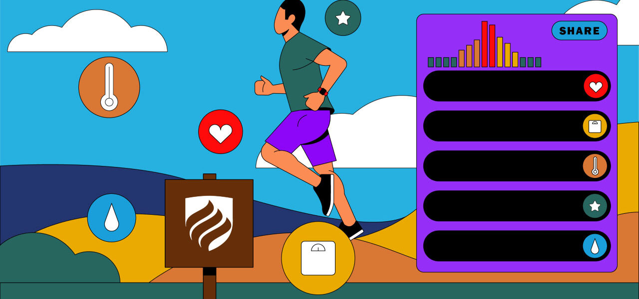 Illustration of a jogging man surrounded by different icons that factor into the answer to the question: What is population health?