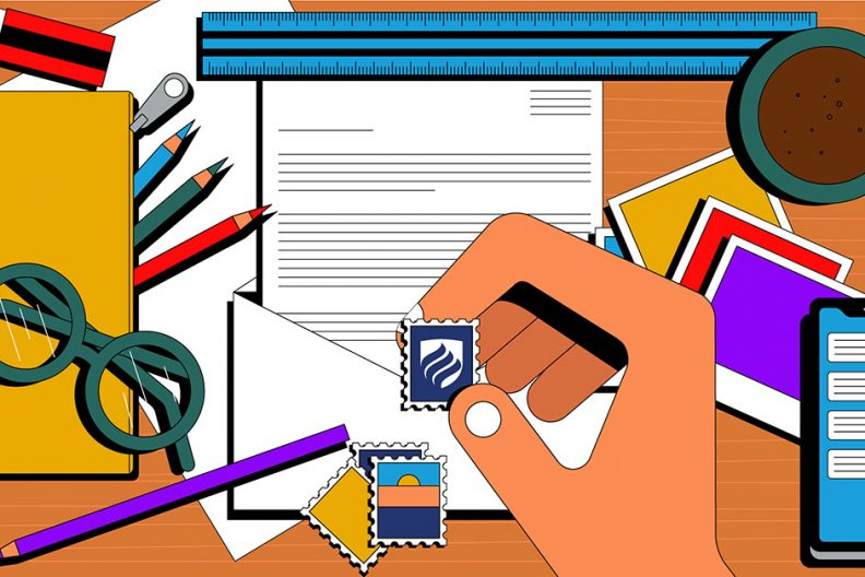 Illustration shows a hand holding a stamp, preparing to mail grad school letters of recommendation.