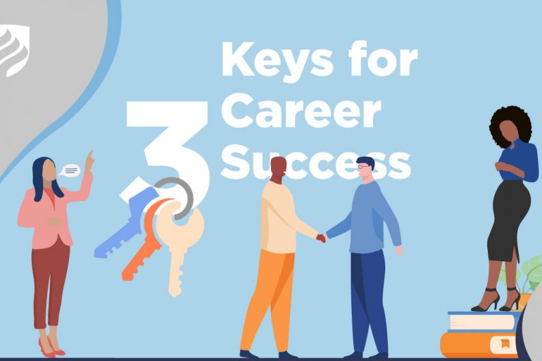 "An illustration with the headline ""3 Keys for Career Success."" A set of keys dangles off of the ""3."""