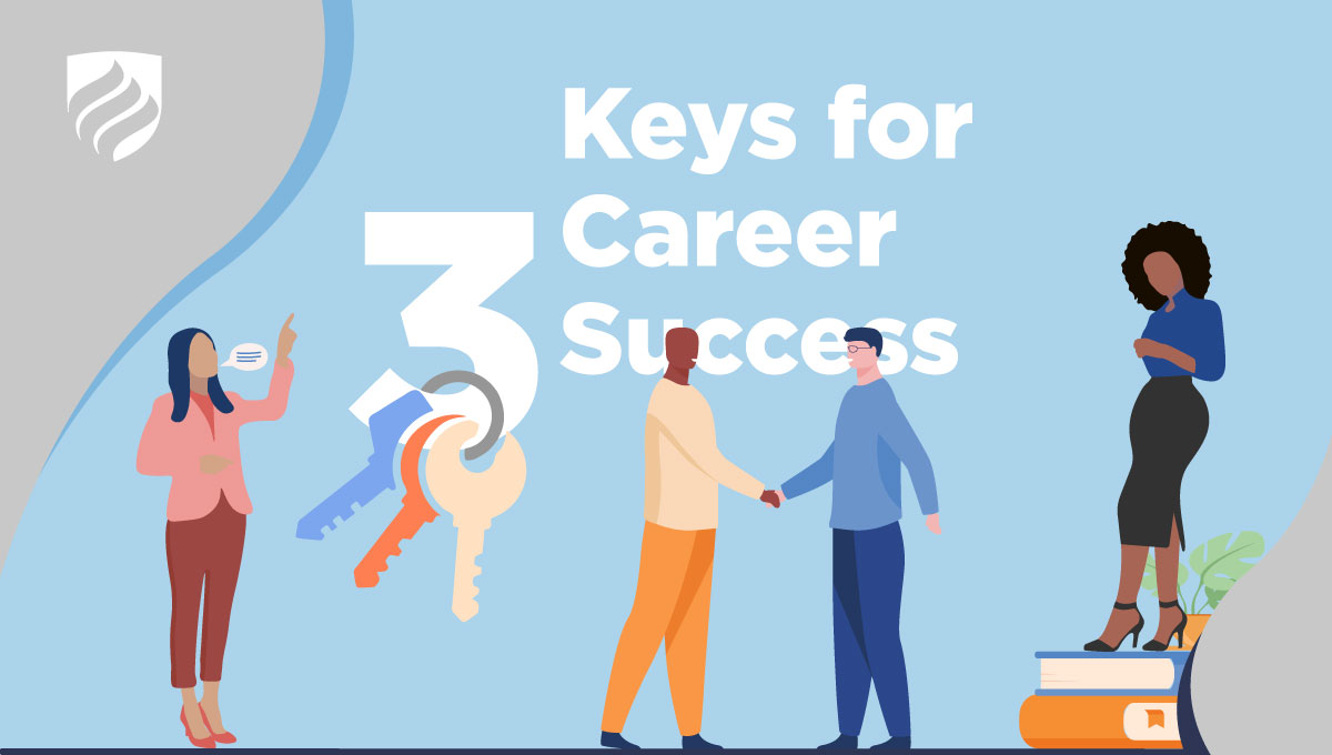 """An illustration with the headline """"3 Keys for Career Success."""" A set of keys dangles off of the """"3."""""""