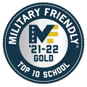 Military Friendly School logo badge that reads: Military Friendly Top 10 '21-'22 Gold