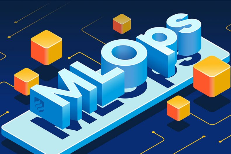"""An illustration with the word """"ML Ops"""" in blue 3-D box lettering. ML Ops is a system for deploying machine learning efficiently."""