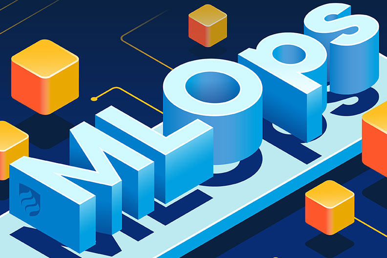 "An illustration with the word ""ML Ops"" in blue 3-D box lettering. ML Ops is a system for deploying machine learning efficiently."