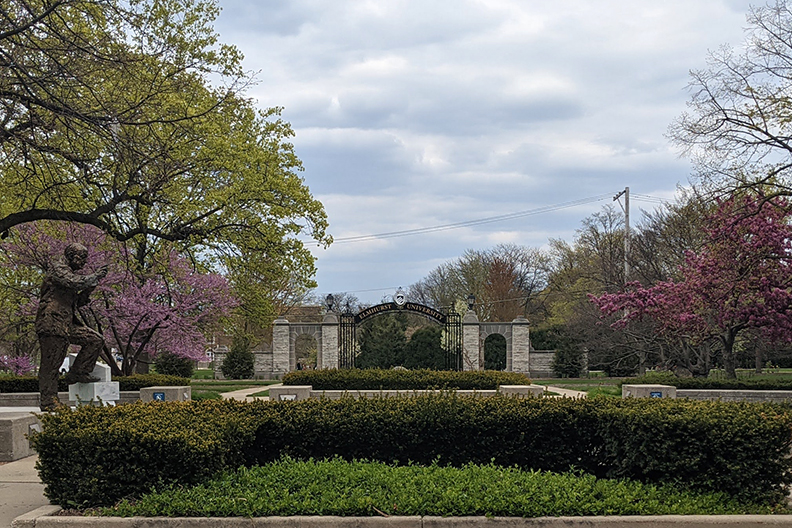 Photo of the Gates of Knowledge on the campus of Elmhurst University.