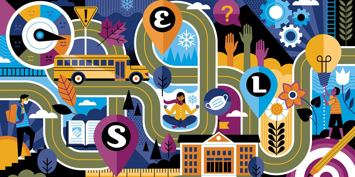 "A colorful illustration shows a winding road to social emotional learning in schools. The letters ""S,"" ""E"" and ""L"" are inside of map pins along the road."