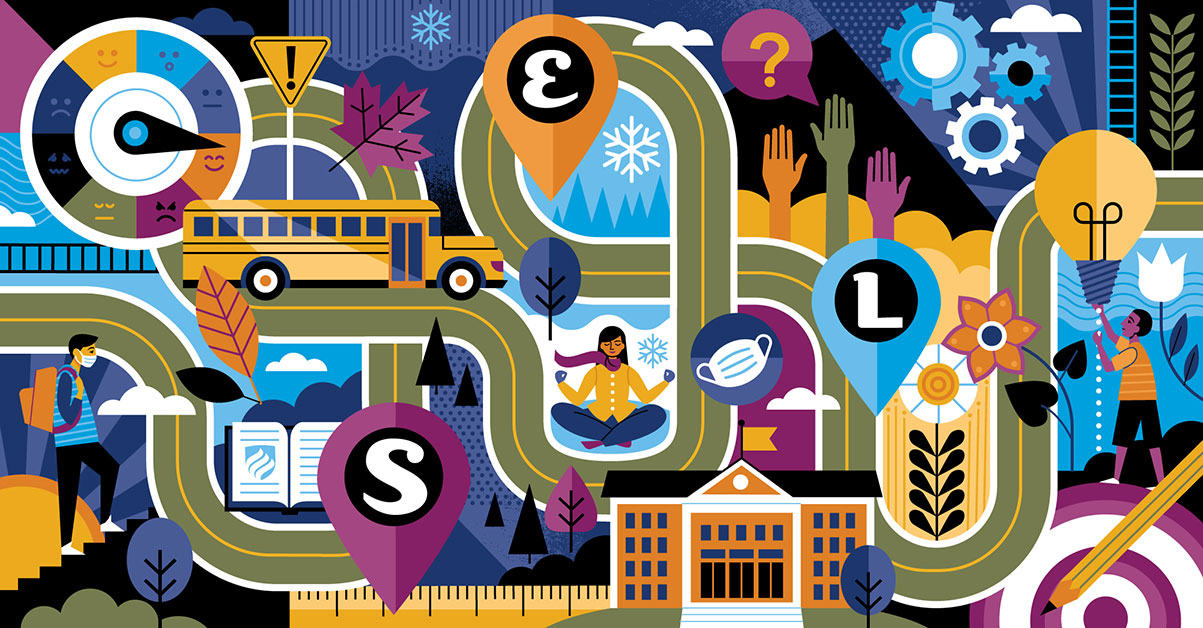 """A colorful illustration shows a winding road to social emotional learning in schools. The letters """"S,"""" """"E"""" and """"L"""" are inside of map pins along the road."""