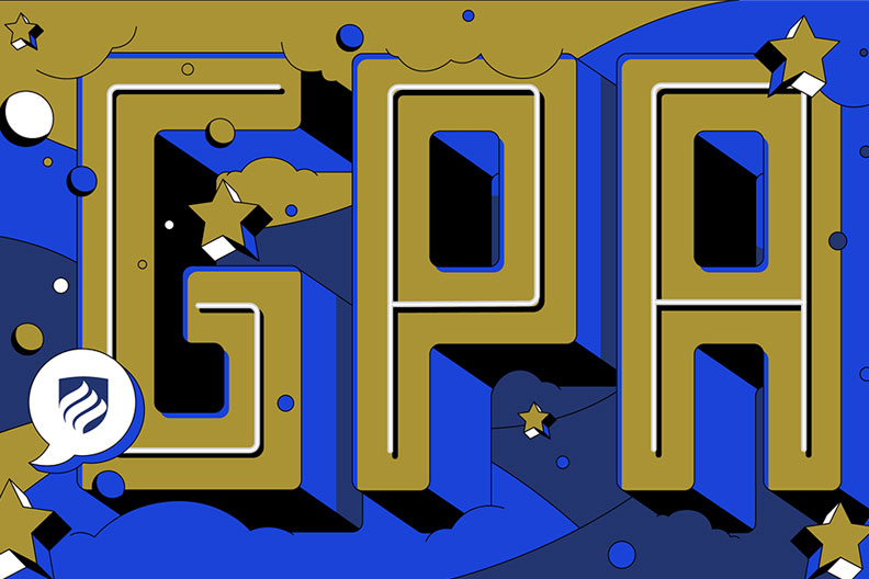 "An illustration with ""GPA"" in large block letters. Graduate school GPA, or grade point average, does matter for your future."