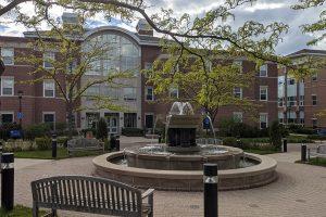 Alumni Fountain on the campus of Elmhurst University.