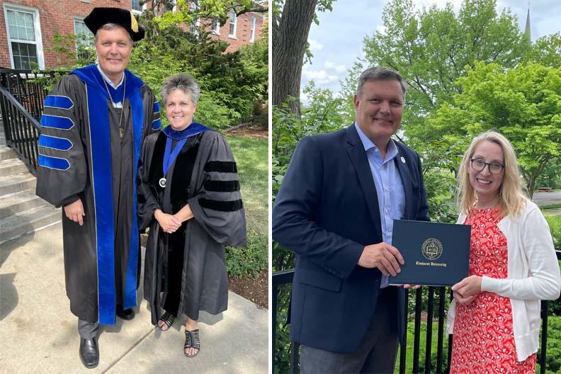 Elmhurst University President Troy D. Van Aken presents the President's Award for Excellence in Teaching to Dr. Karen Benjamin and Dr. Heather Hall.