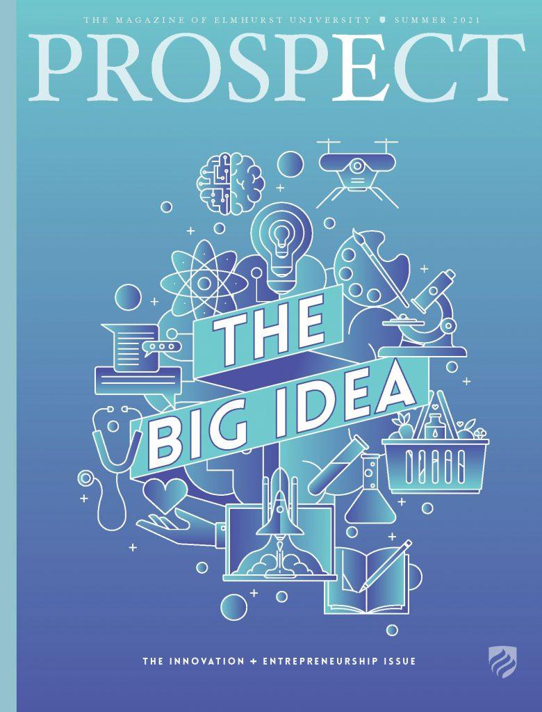 The cover of the Summer 2021 issue of Elmhurst University's Prospect Magazine. Headline reads
