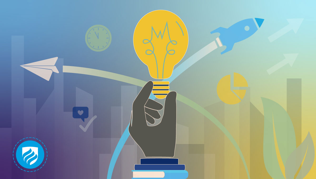An illustration of a hand holding up a lightbulb to signify how to learn entrepreneurship.