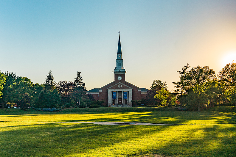 A photo of the front of Hammerschmidt Chapel on the campus of Elmhurst University.