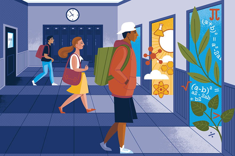 An illustration of three students making up for lost time as schools go back to normal.