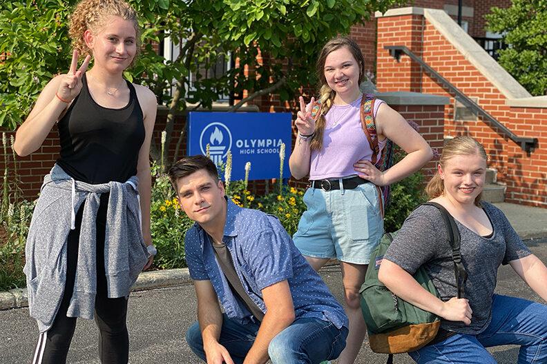"Elmhurst University students on the set of them movie ""The Class."""