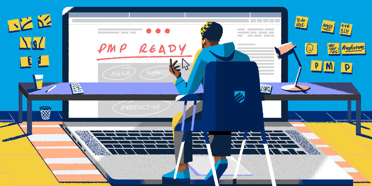 """An illustration of someone looking up """"What is the PMP exam?"""" on an oversize laptop."""