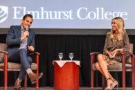 TV personalities Bill and Giuliana Rancic speak on the campus of Elmhurst University in 2018.