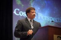 """""""Cosmos"""" host Neil deGrasse Tyson speaks on the campus of Elmhurst University in 2013."""