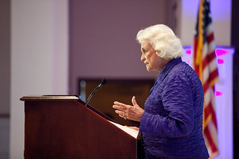 Supreme Court Justice Sandra Day O'Connor speaks on the campus of Elmhurst University in 2013.