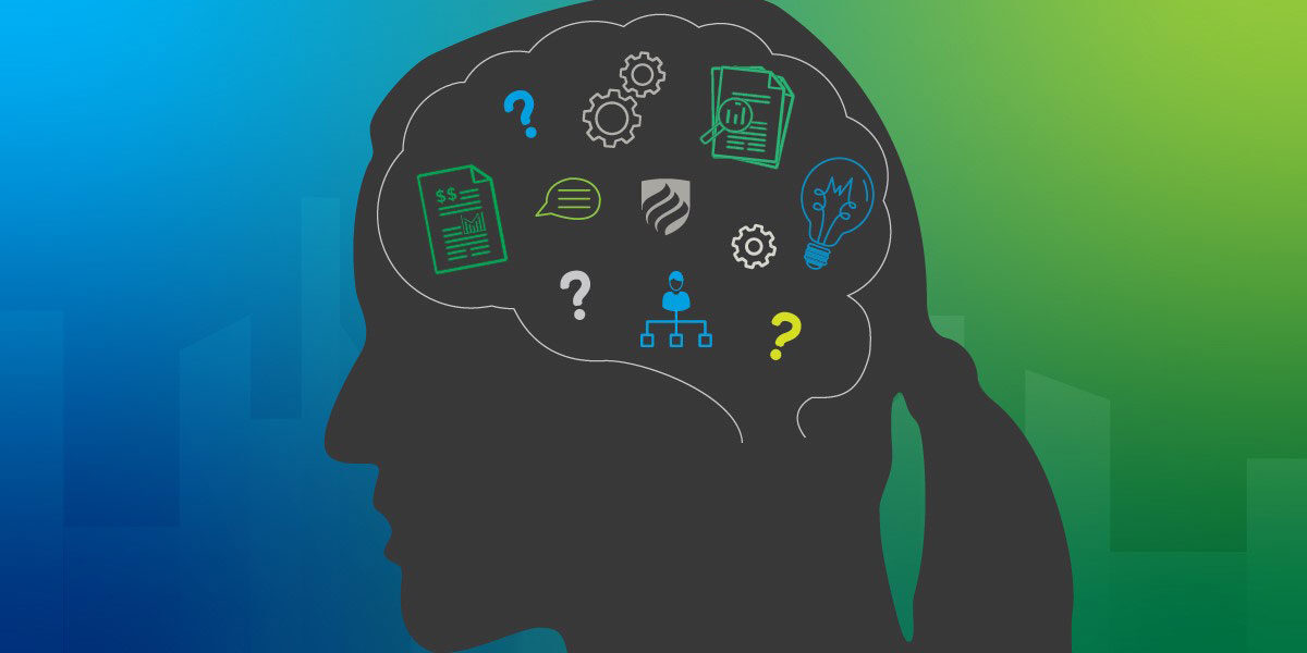 An illustration of a brain showing the mindset needed to become an intrapreneur.