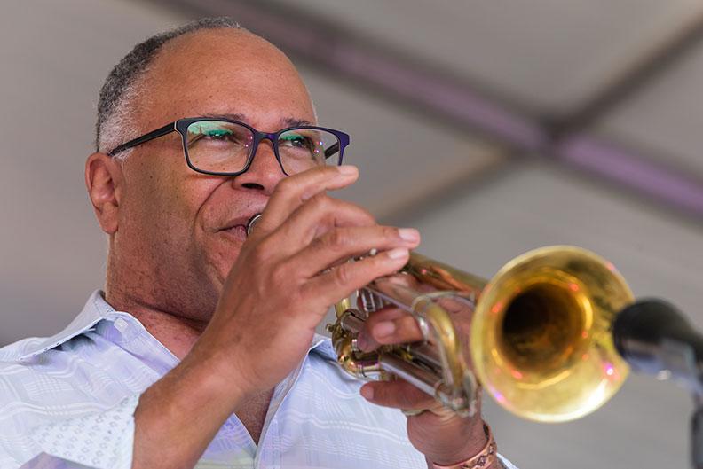 Byron Stripling plays the trumpet during Elmhurst University's annual June Jazz outdoor concert.
