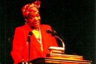 Poet laureate Maya Angelou spoke at Elmhurst University in 1996.