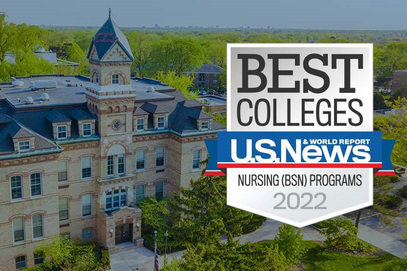 """Decorative image of the Elmhurst University campus with a U.S. News and World Report """"Best Colleges"""" logo."""