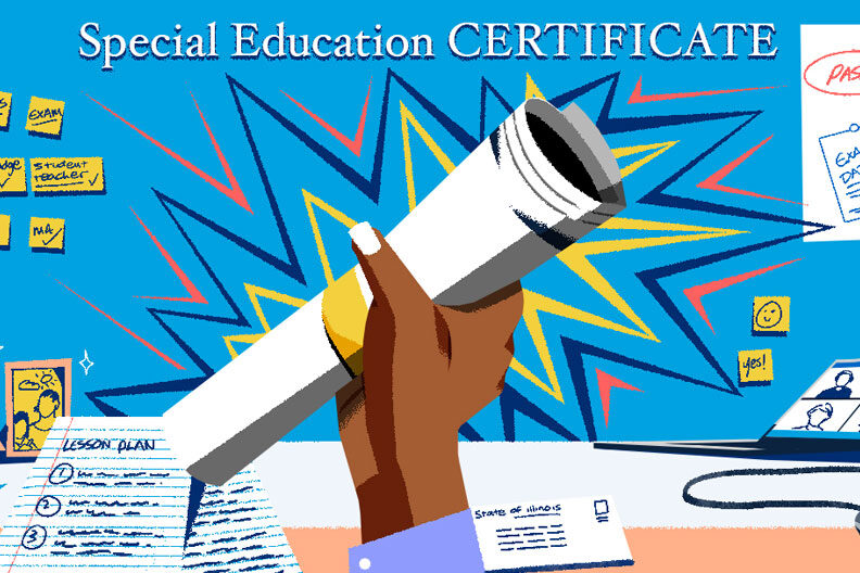 An illustration of a special education certificate being held up.