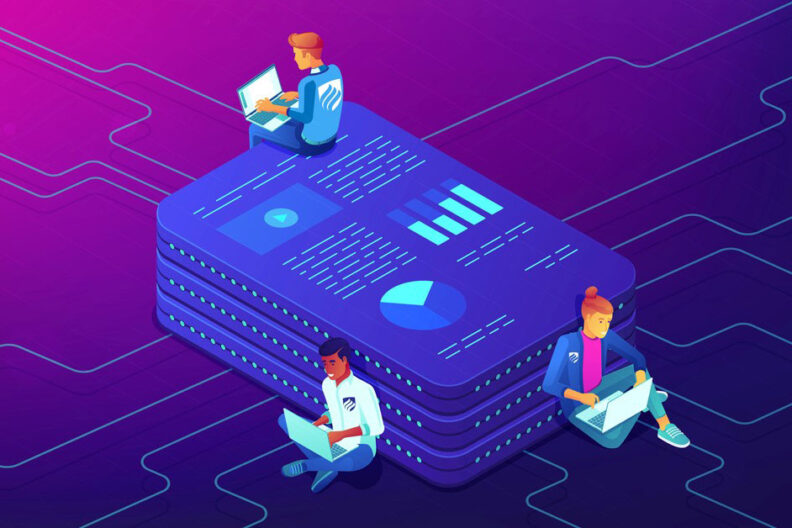 An illustration showing three students using data science skills while sitting on a blue tablet that is displaying charts and graphs..